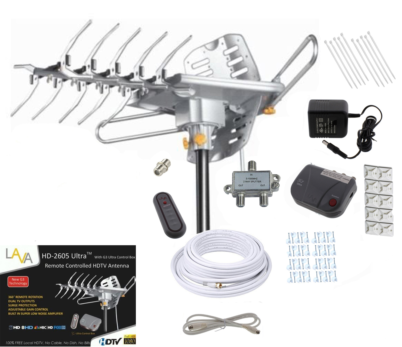 lava hd2605 hdtv digital rotor amplified outdoor hd tv antenna cable install kit ebay. Black Bedroom Furniture Sets. Home Design Ideas