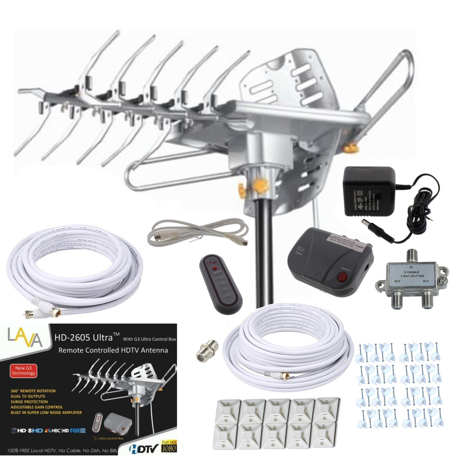 Lava HD2605 HDTV Digital Rotor Amplified Outdoor HD TV Antenna Cable Install
