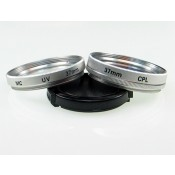 37mm Circular Polarizer CPL and Muticoated MC UV Glass Filters in Silver Color with 37mm Lens Cap