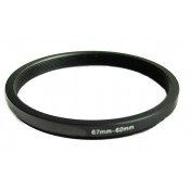 Step down adapter ring 67mm-62mm Metal, Anodized, Black
